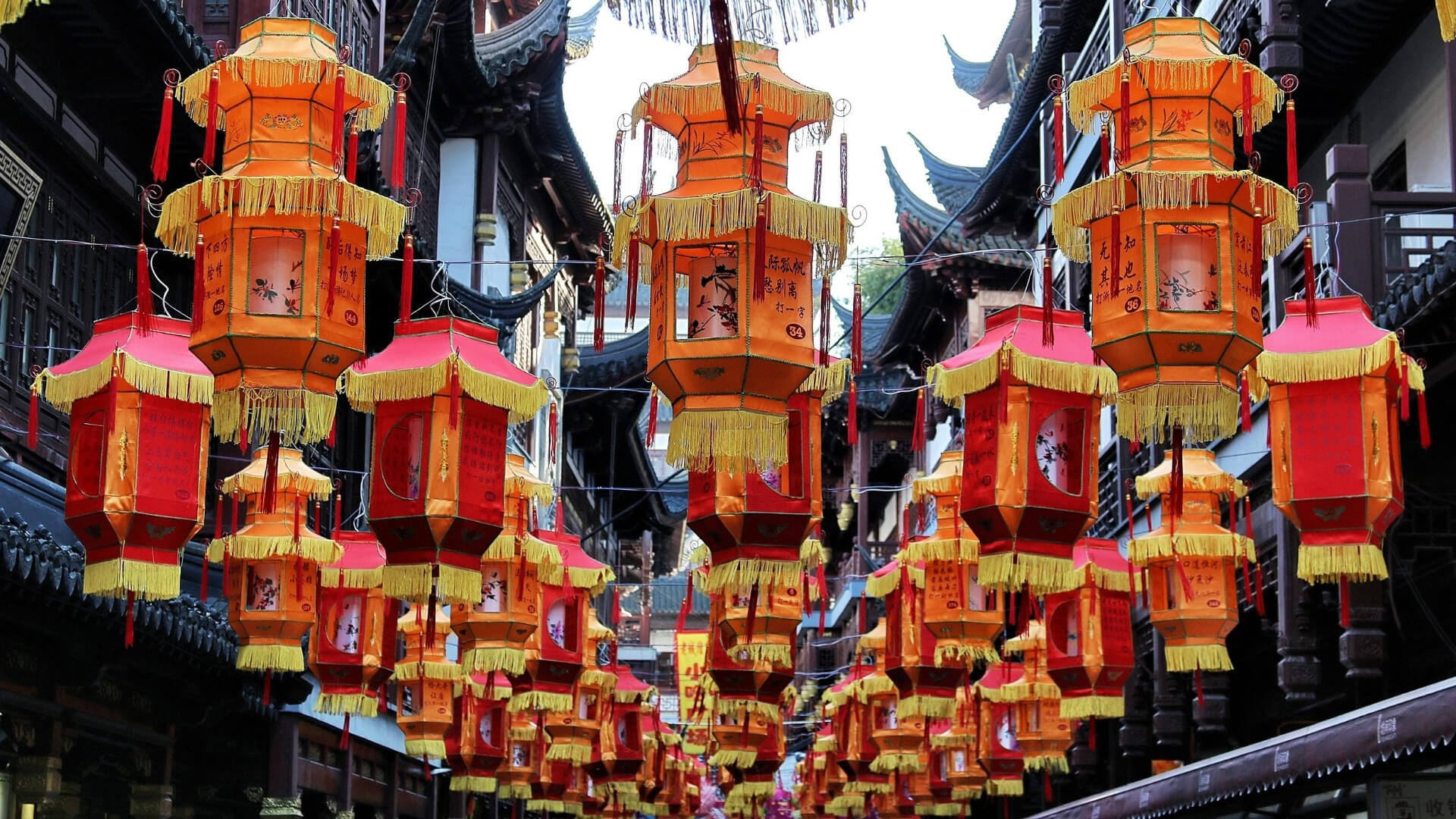 Chinese red lanterns are hanging in a street as decoration in Shanghai.