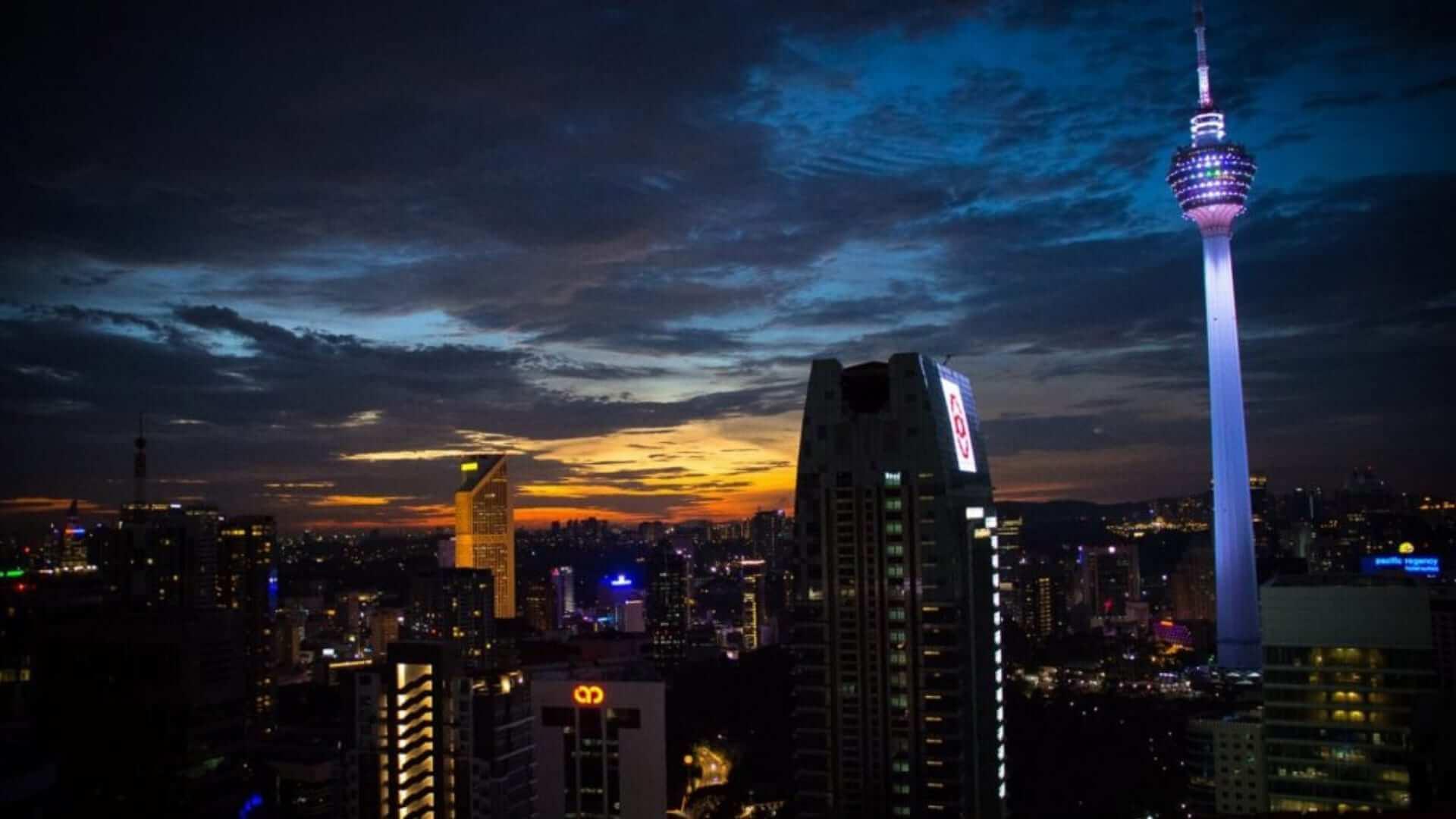 Buildings in Kuala Lumpur during sunset in Malaysia.