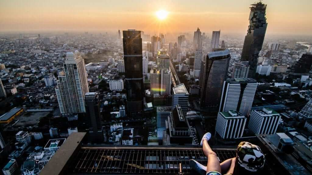 A scenic view of bangkok during sunset