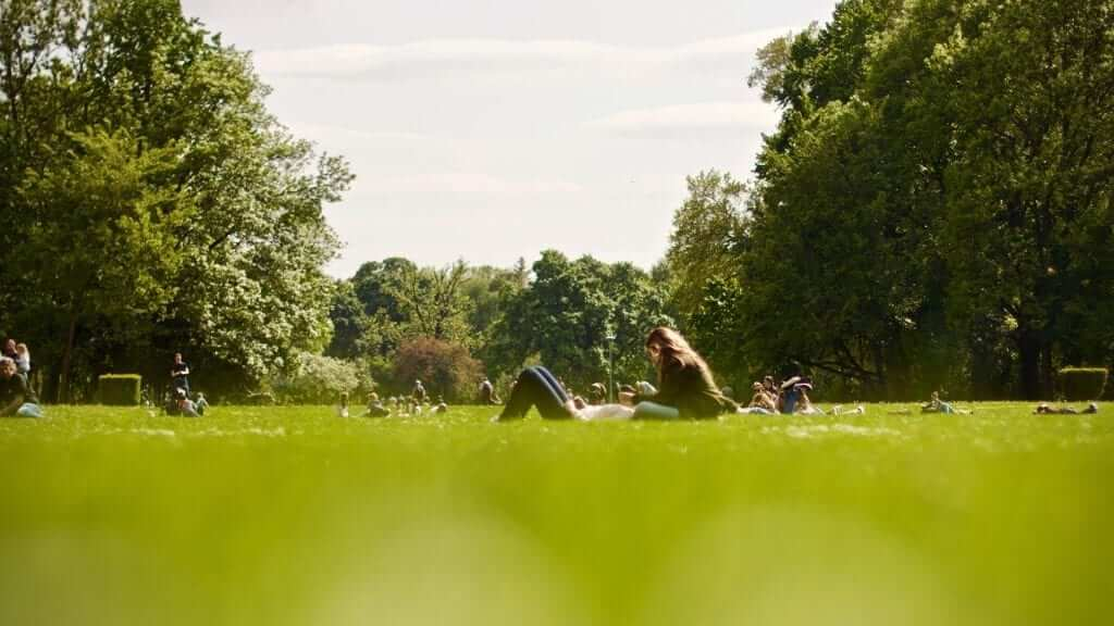 Two persons are sitting down on the ground in a park with green grass and trees.