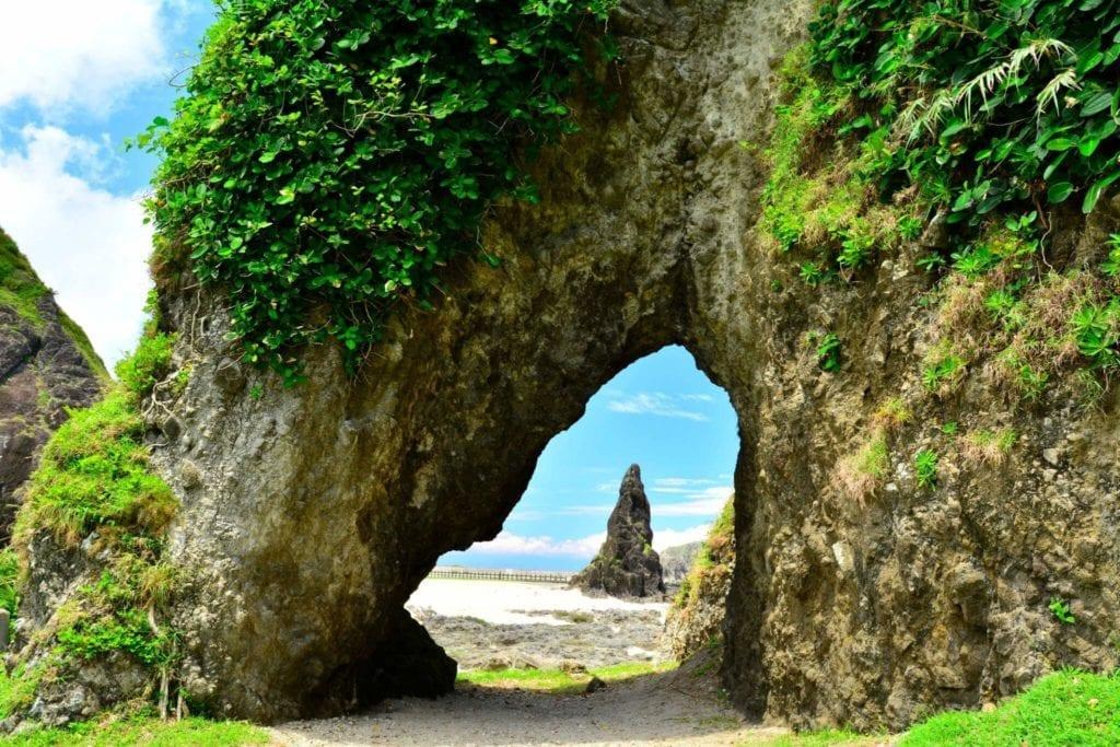 Leafy rock with an arch on a beach