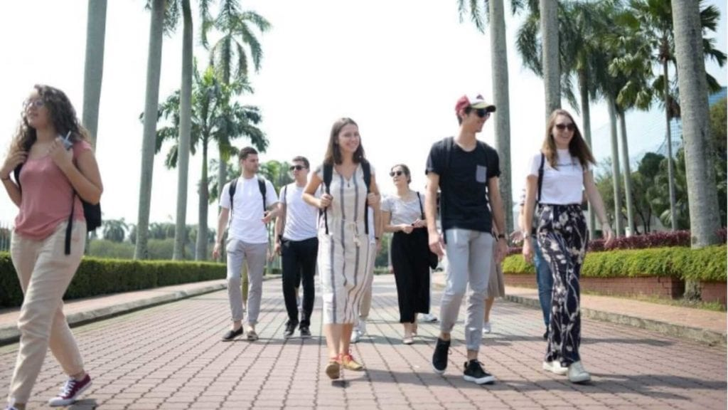 A group of students is walking on a path with palmtrees next to it in Malaysia.