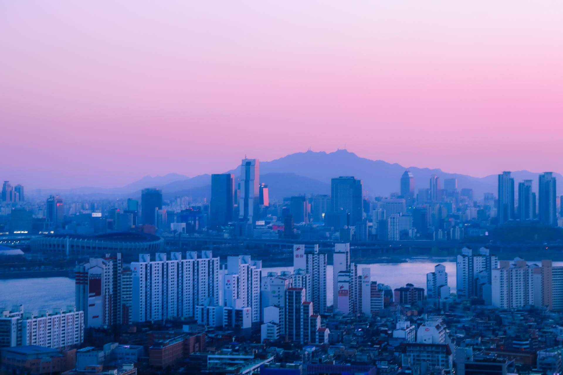 purple sky in seoul