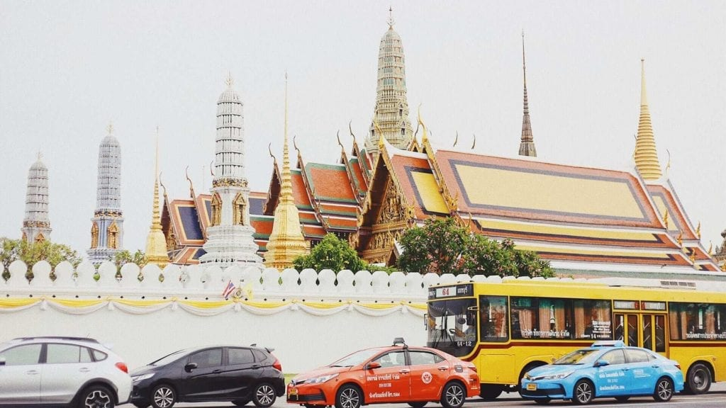 Big temple and cars