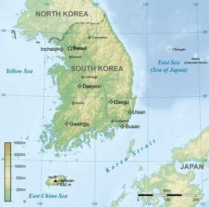 Map of South Korea showing the peninsula and major cities