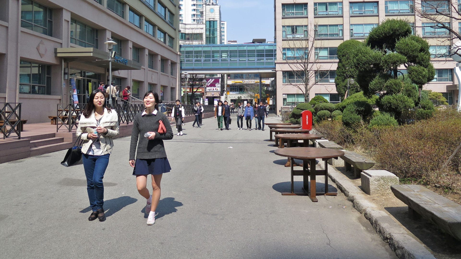 people walking around hankuk university
