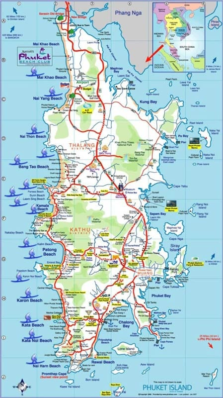 Map of the island of Phuket showing places to go surfing