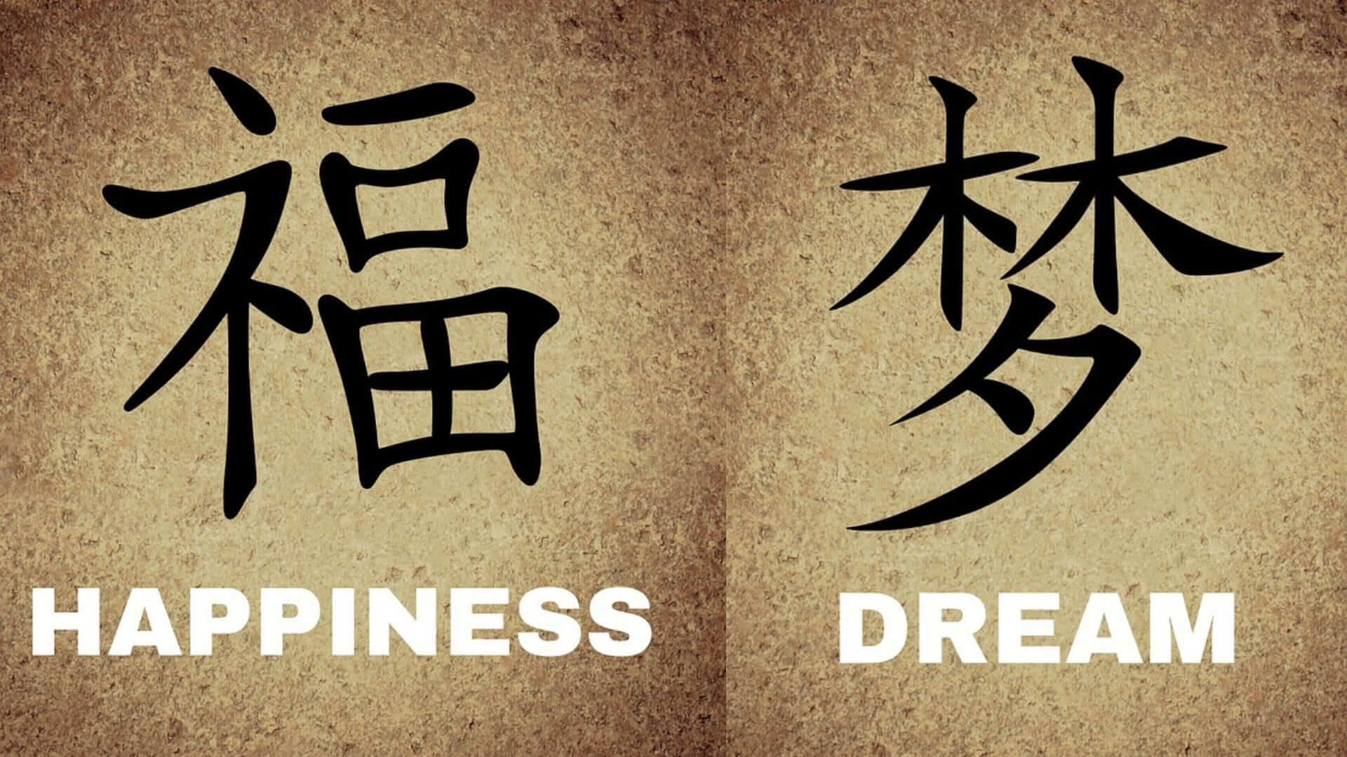 Two Chinese characters with the meaning dream and hapiness.