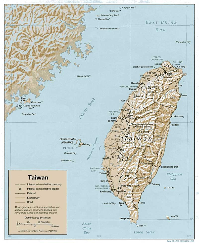 A map showing the island of taiwan, major cities there, and geography