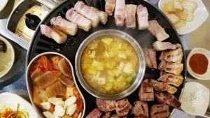 a complete korean barbeque on the table