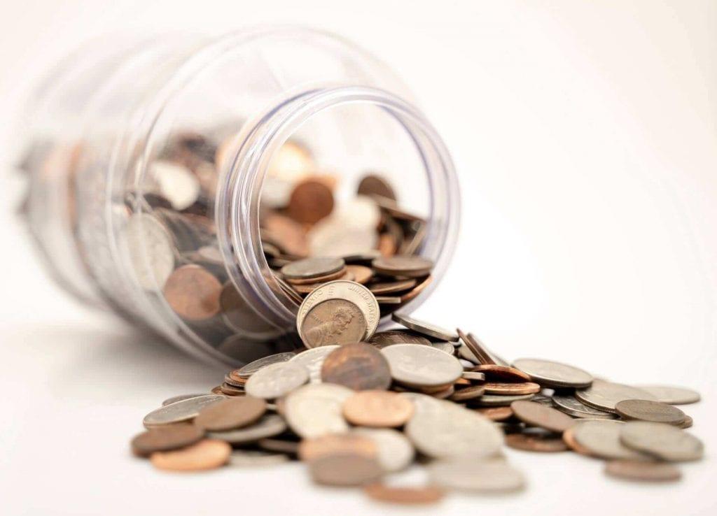 coins inside a jar