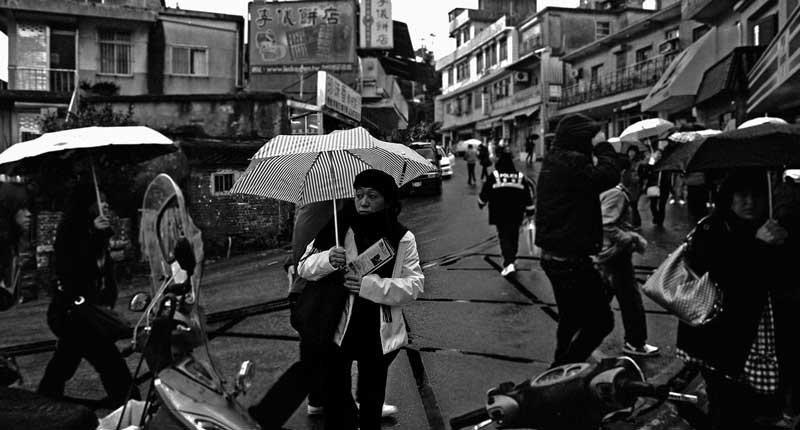 A woman carries an umbrella. It is raining