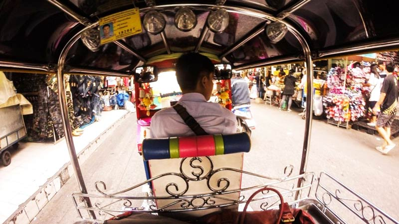 A view from a Thai driving a Tuk-Tuk in Bangkok.