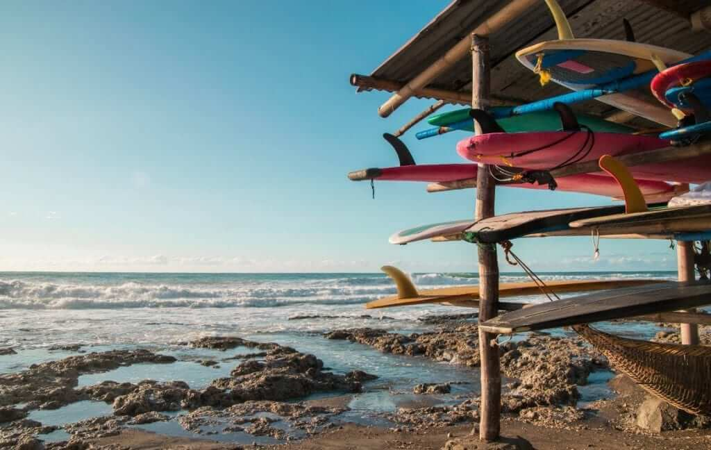 surfboards on the beach in the philippines