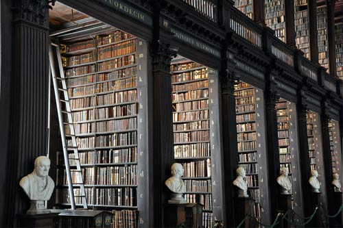a big library filled with books
