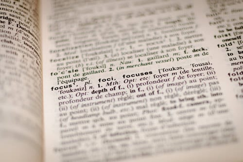 a dictonary filled with words