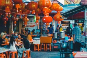 chinese food stall at evening