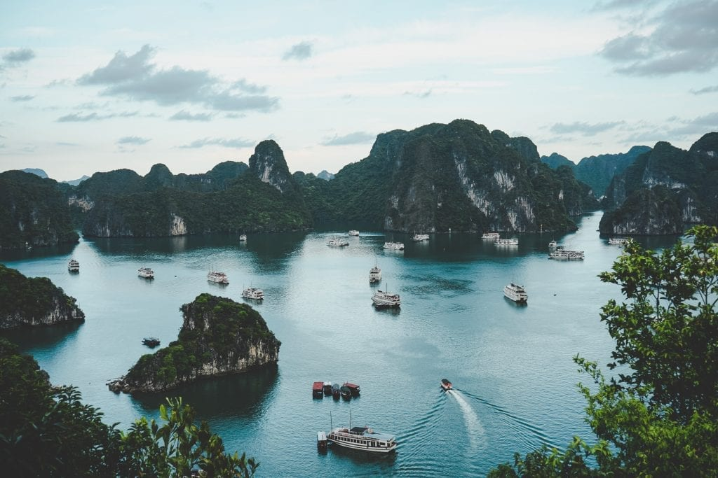 A view of boats and islands in Vietnam.