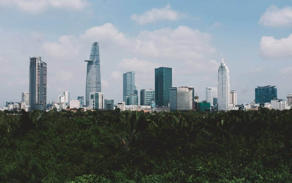 View of Ho Chi Minh City skyscrapers in Vietnam