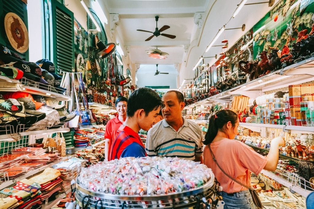 A group of people at a Vietnamese store.