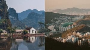 A collage photo of a white house between to cliffs in Vietnam and an aerial photo of Seoul, South Korea