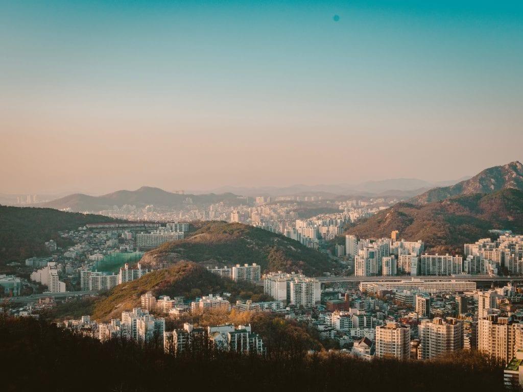Aerieal shot of Seoul, South Korea