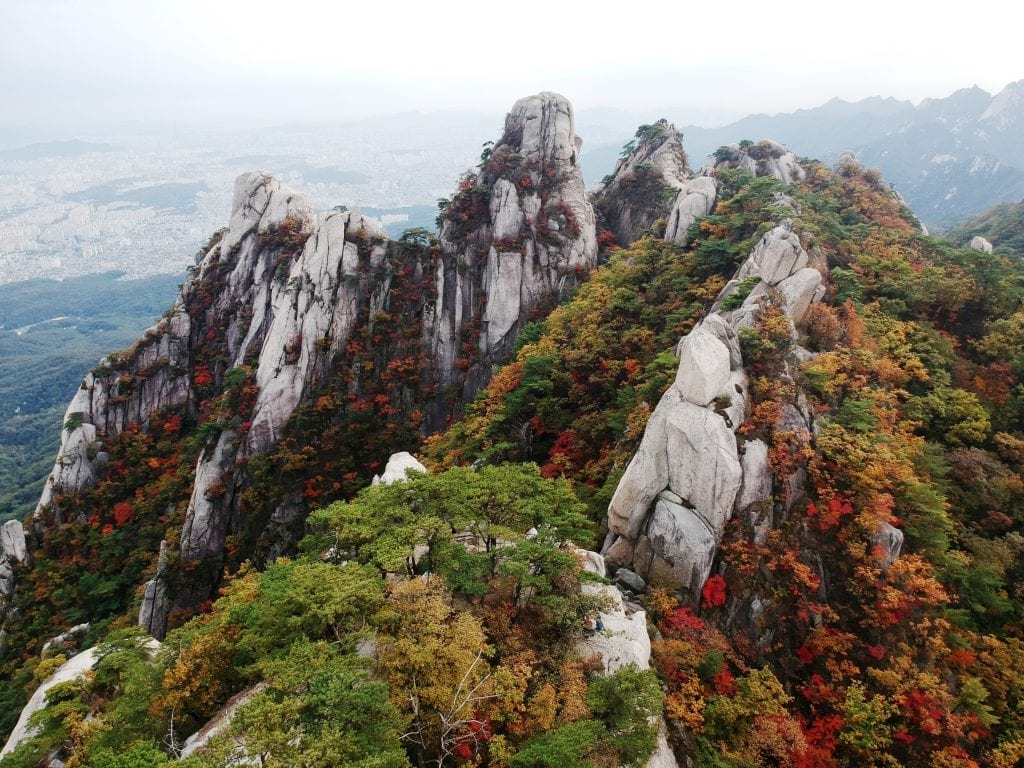 Aerial view of the Bukhansan national park in Seoul in the autumn