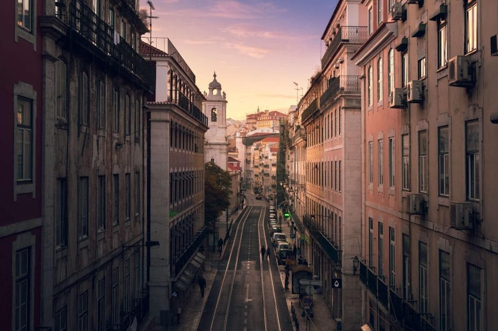 city center street in Lisbon