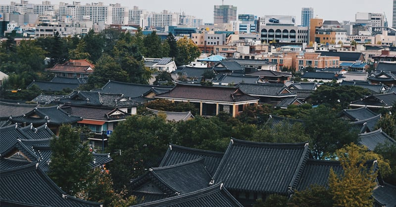 view over roof tops in seoul