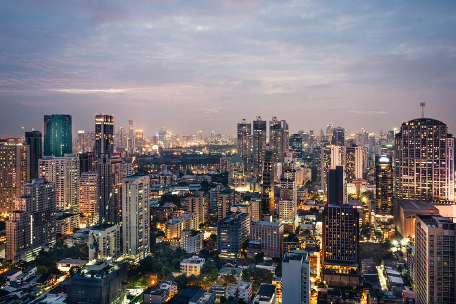 view over bangkok during the night