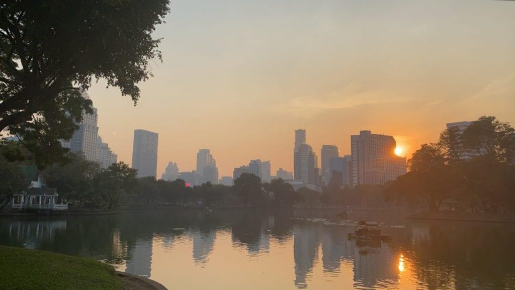 bangkok sunset city skyline