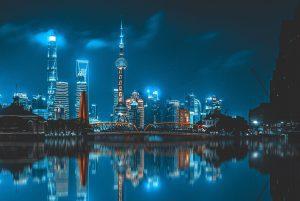 shanghai night skyline city China