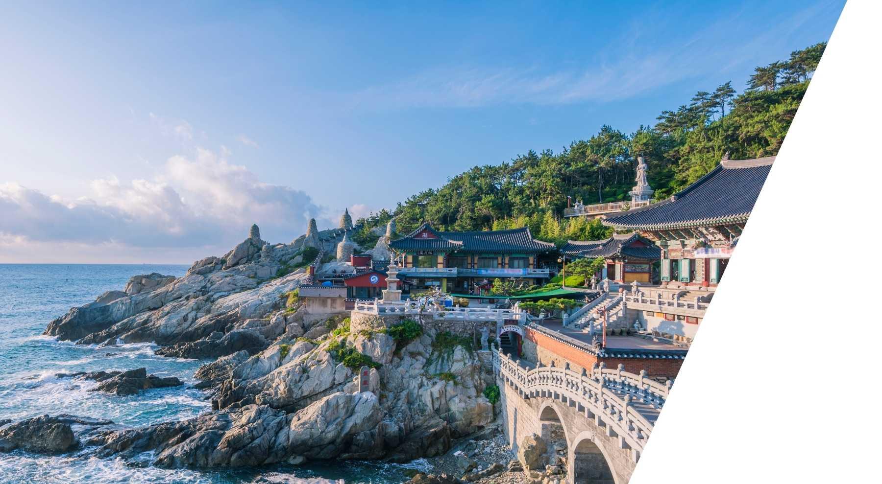Korean Buildings on top of the rocks